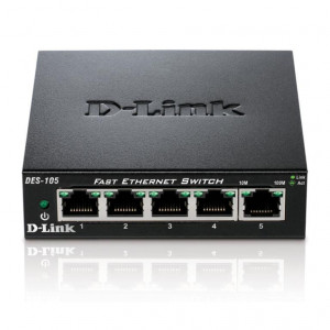 Switch No Administrables - D-Link 5 puertos 10/100/1000Mbps - Metalico