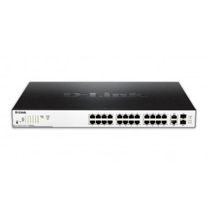 "Switch Easy Smart - D-Link 26-Port PoE Gigabit - puertos PoE 1-24 - 2 puertos combo/SFP - 11"" rackable"