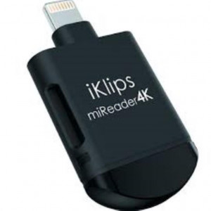 ADAM - iKlips miReader 4K Apple Lightning Card Reader 128GB Black